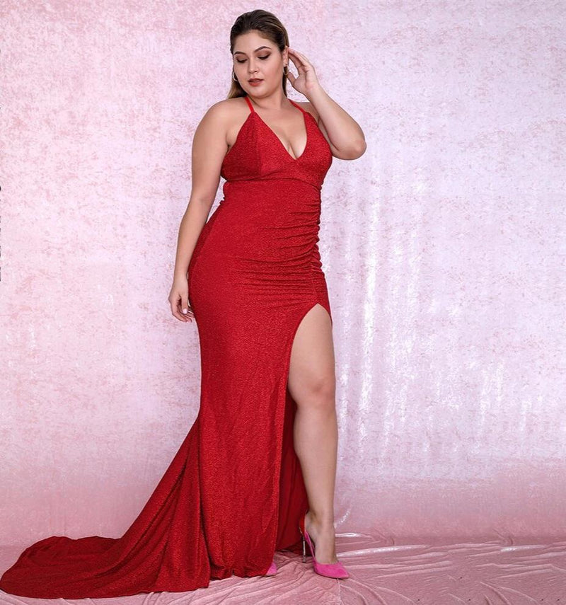 Plus size Sexy Red Maxi Dress