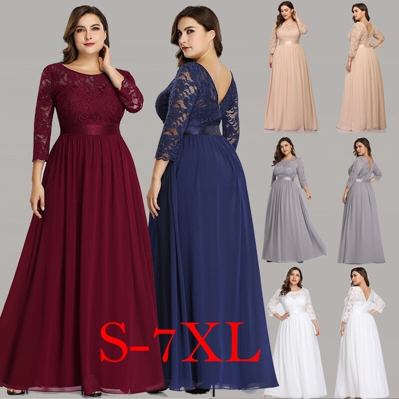 New Arrival Elegant A Line O Neck Three Quarter Sleeve Lace Party  Maxi Dress