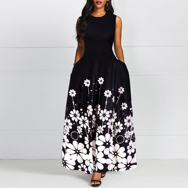 Sleeveless Floral Print Round Neck Retro Standard-Waist Women Maxi Dress