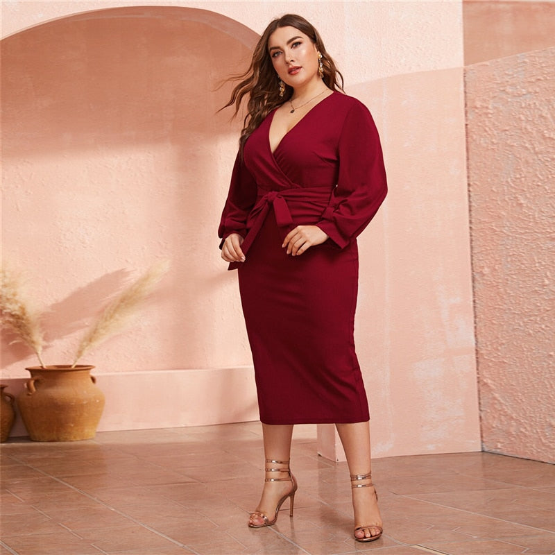 Plus Size Burgundy Plunging Neck Wrap Belted Pencil Long Dress