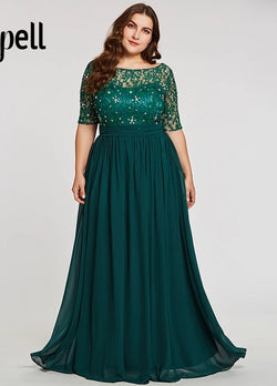 Chiffon Half Sleeves Beaded Lace Long Evening Gown Plus Size Maxi Dress