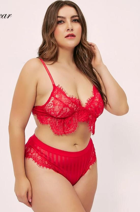 Plus size embroidery half cup lingerie Sets