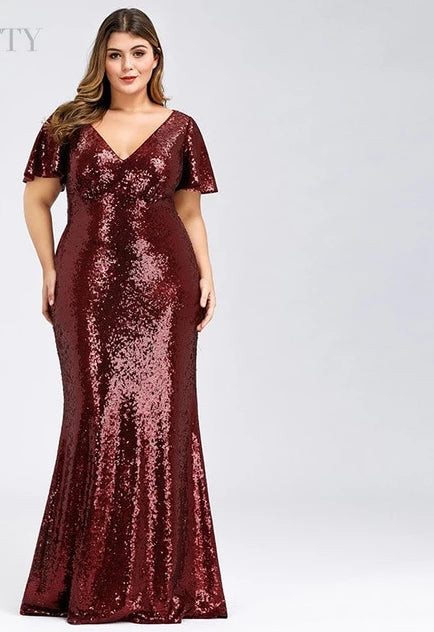 Plus Size Rose Gold Evening Dresses