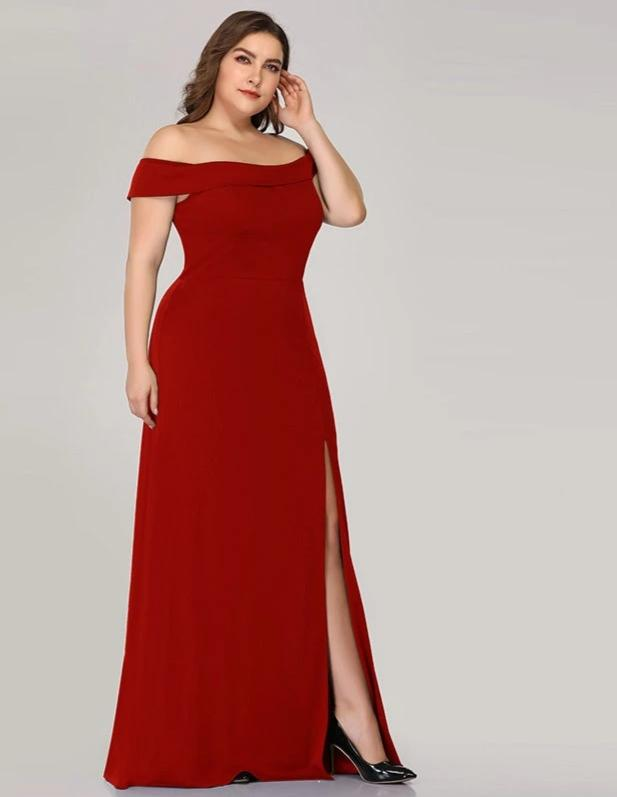 Off The Shoulder Slash Neck Plus Size Maxi Dresses