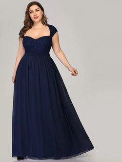 Plus Size Navy Blue Women A-Line Beaded Sleeveless Maxi Dresses