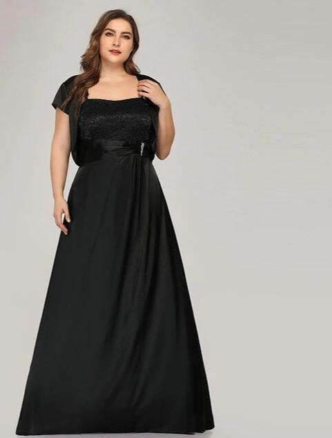 Plus Size A-Line With Jacket Elegant Lace Black Women Dresses