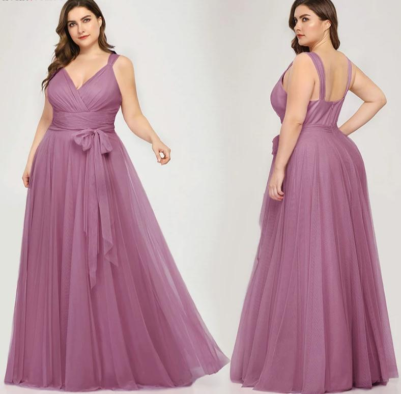 Plus Size A-Line V-Neck Bow Sashes Elegant Occasion Dresses