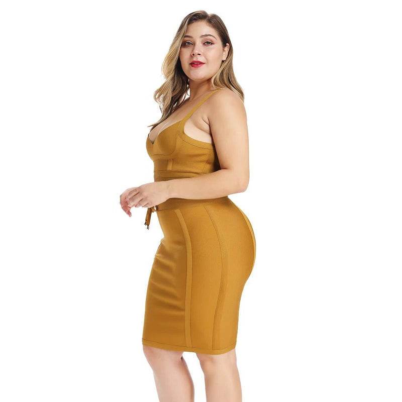 Plus Size Elegant Yellow Bandage Mini Bodycon Dress