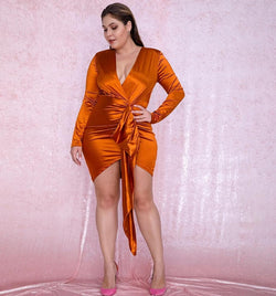 Orange V-Neck Shirring Streamer Decoration Bodycon Party Dress