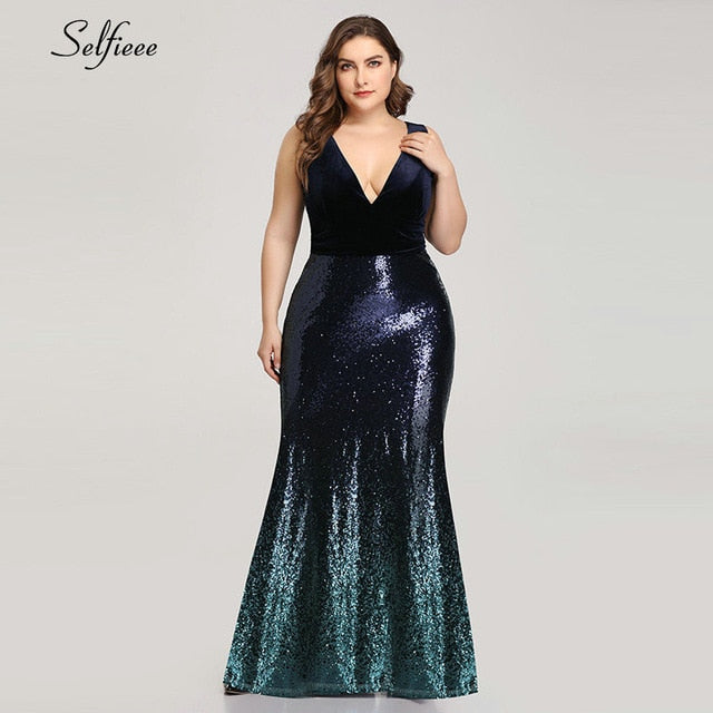 Plus Size Women V Neck Sleeveless Long Mermaid Sequin Sexy Velvet Party Dress