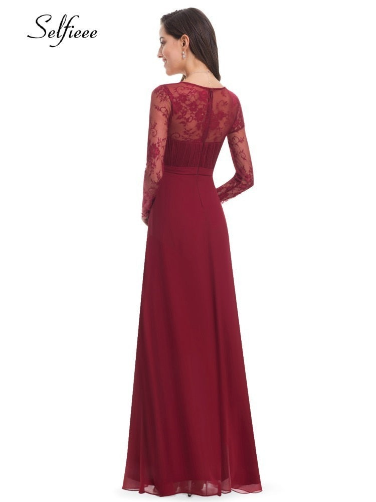 A-Line V-Neck Lace Full Sleeve Party Gowns Women Plus Size Elegant Dresses