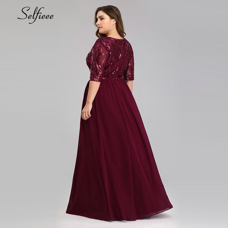 Plus Size A-Line V-Neck Half Sleeve Elegant Burgundy Sequined Women Dresses