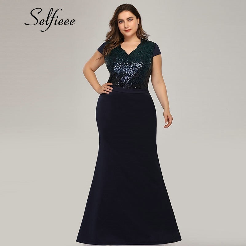Plus Size Sequined Mermaid V-Neck Patchwork Sexy Plus Size Women Dress