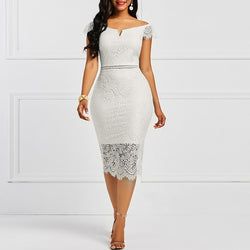 Women Lace Slash Neck Hollow Backless Patchwork Sheath Retro Dresses