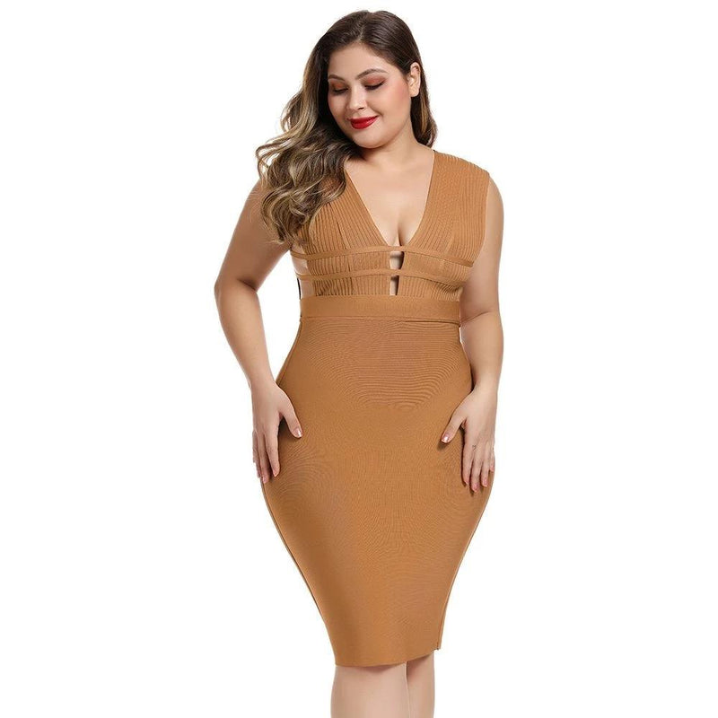 High Quality Rayon Bandage  Party Plus Size Bodycon Dress