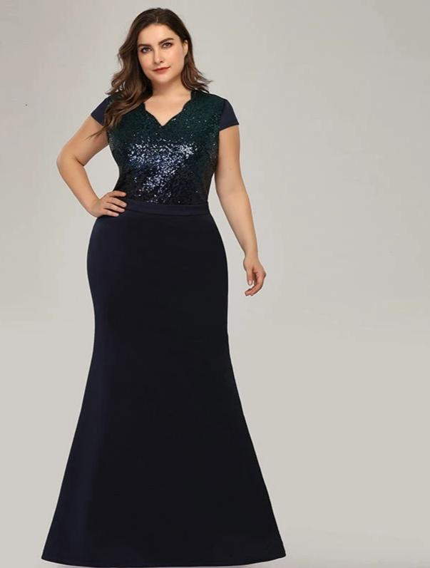 Plus Size Sequined Women  Mermaid V-Neck Patchwork Dresses