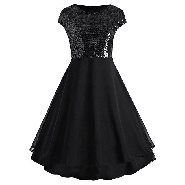 Plus Size Solid Black Flounce Chiffon Glitter Sparkly Sleeveless Vintage Sequins Women Dress