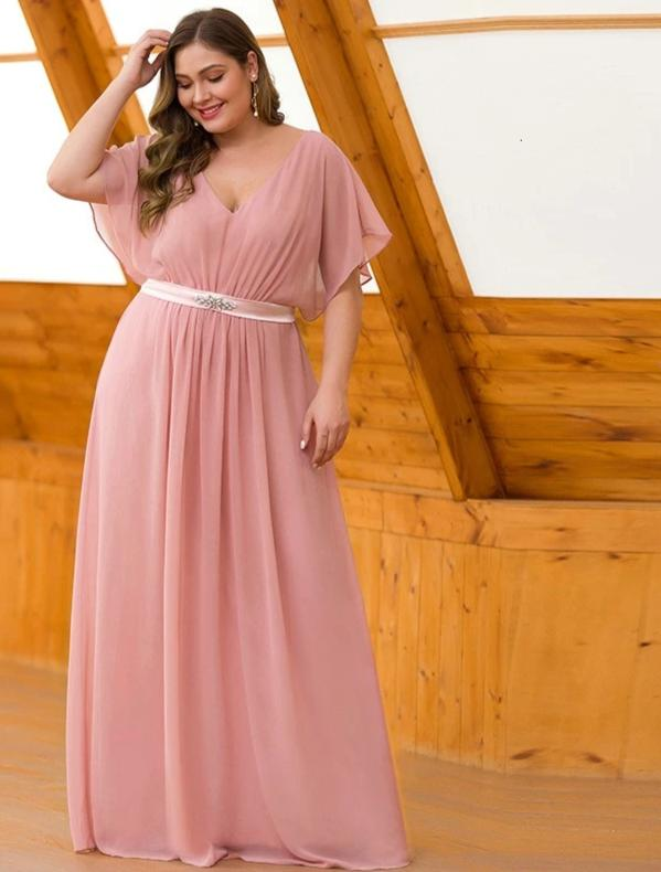 Elegant Mauve Beaded A-Line V-Neck Short Sleeve Maxi Dress