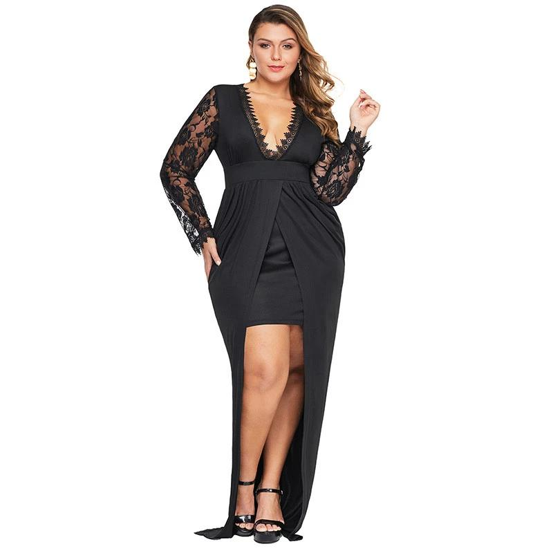 Women's Black Deep V Neck Lace Sleeve Front Slit Bodycon Maxi Dress