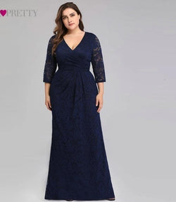 Plus Size Lace V-Neck 3/4 Sleeve Elegant Mermaid Long Prom Dresses