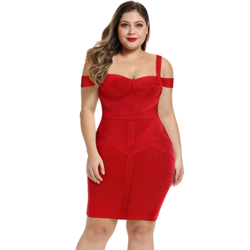 Elegant Off Shoulder Plus Size  Red Bandage  Bodycon Dress