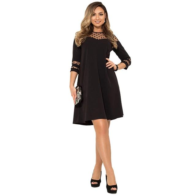 Plus Size Autumn Polka dot Mesh Casual Elegant Party dress