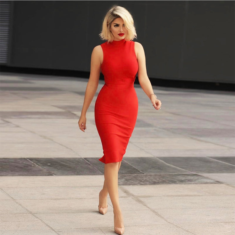 Women's Round Neck Plus Size Bandage Bodycon Dress