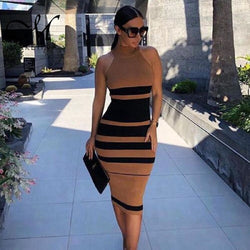 Women's Round Neck  Brown Striped Bandage Plus Size Bodycon Dress