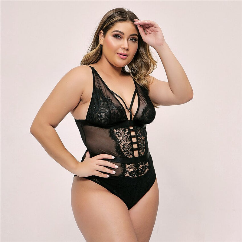 Plus Size Deep V Neck Embroidery Bodysuit