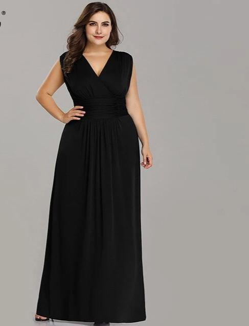 Black V-neck evening dresses bridesmaid dress