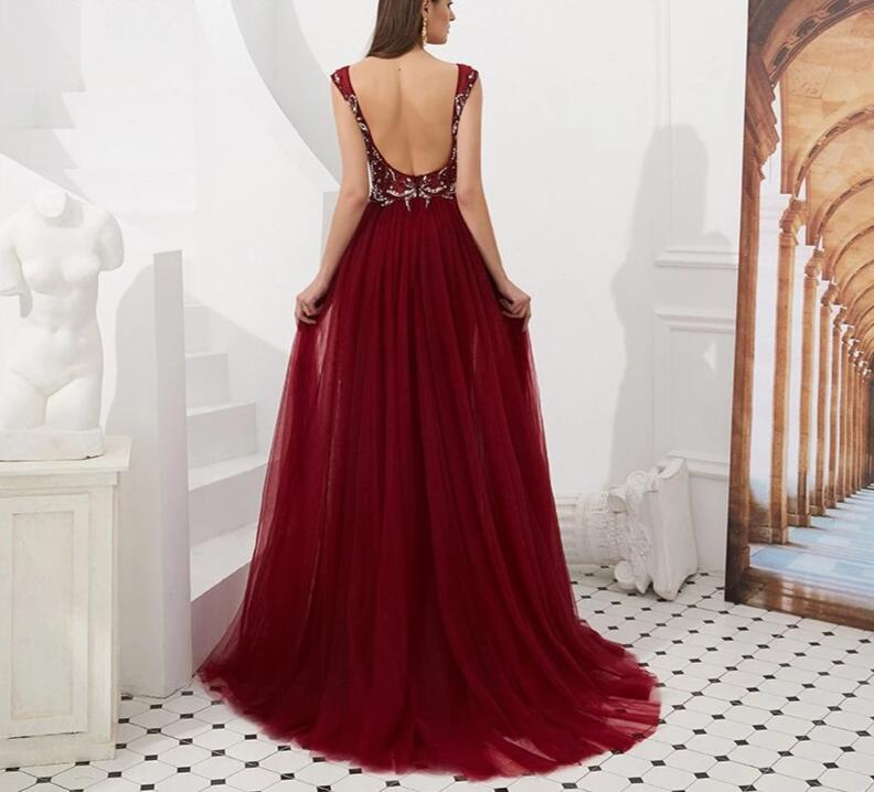Long Elegant Crystals V Neck  Mermaid Backless Prom Dress