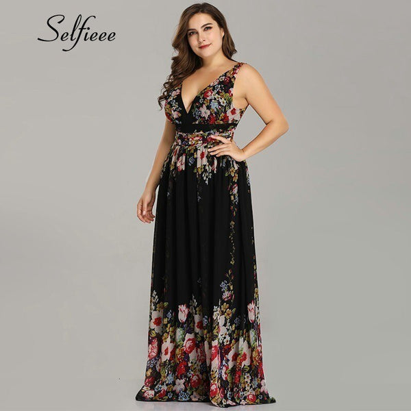 2020 New Elegant A Line V Neck Sleeveless Floral Print Plus Size Party Dress