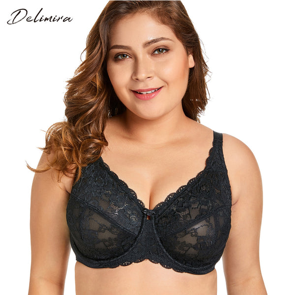 Women's Sheer Lace Full Figure Unlined Minimizer Bra Plus Size