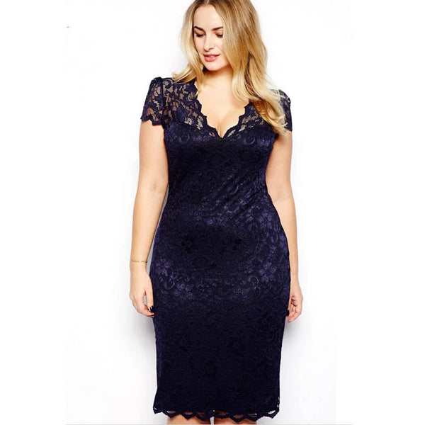 Bodycon Short Sleeve V Neck Plus Size party dress