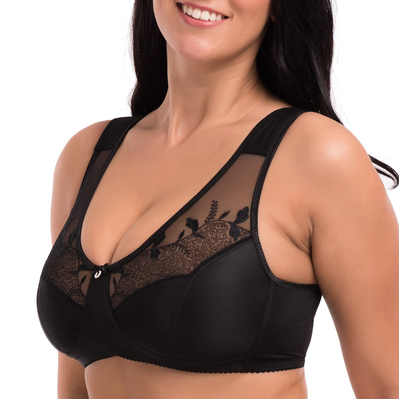 Women's Soft Cups Embroibered Wireless Full Coverage Minimizer Bra Plus Size