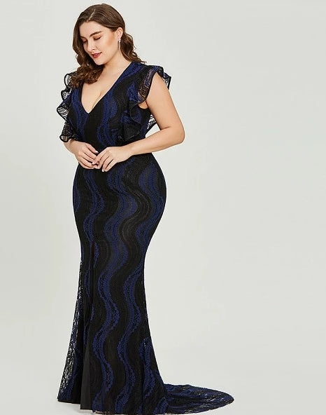 Dark royal blue plus size evening party formal dress