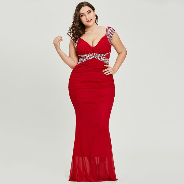 V neck plus size evening dress