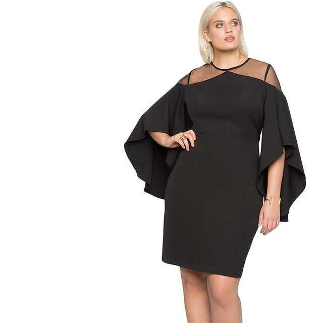 Black Three Quarter Sleeve Office Lady Dress