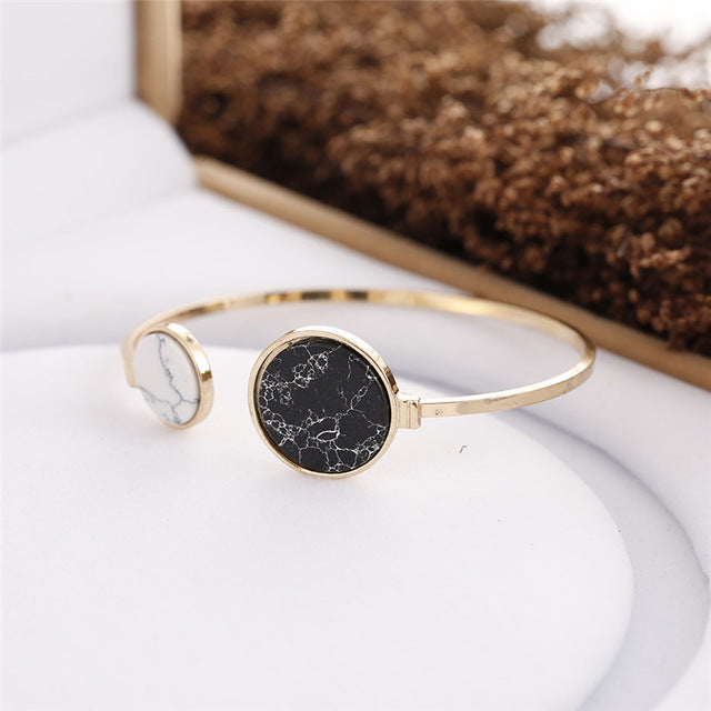 Trendy Stone Style-Gold Color Cuff Wrap Bangle  Bracelet