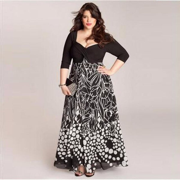 Big size 6XL Black & White  printing long dress