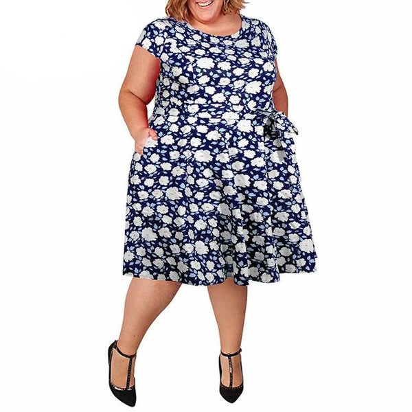 Casual O-neck Short Sleeve Floral Print Plus Size Vintage 1950s Swing Dress With Pockets 7XL 8XL 9XL