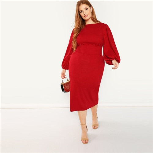 Red Plus Size Lantern Long Sleeve High Waist Elegant Bodycon Pencil Party Dress