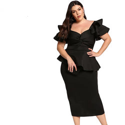 Tiered  Short Sleeve Elegant Party Twisted Peplum Plus Size Dress