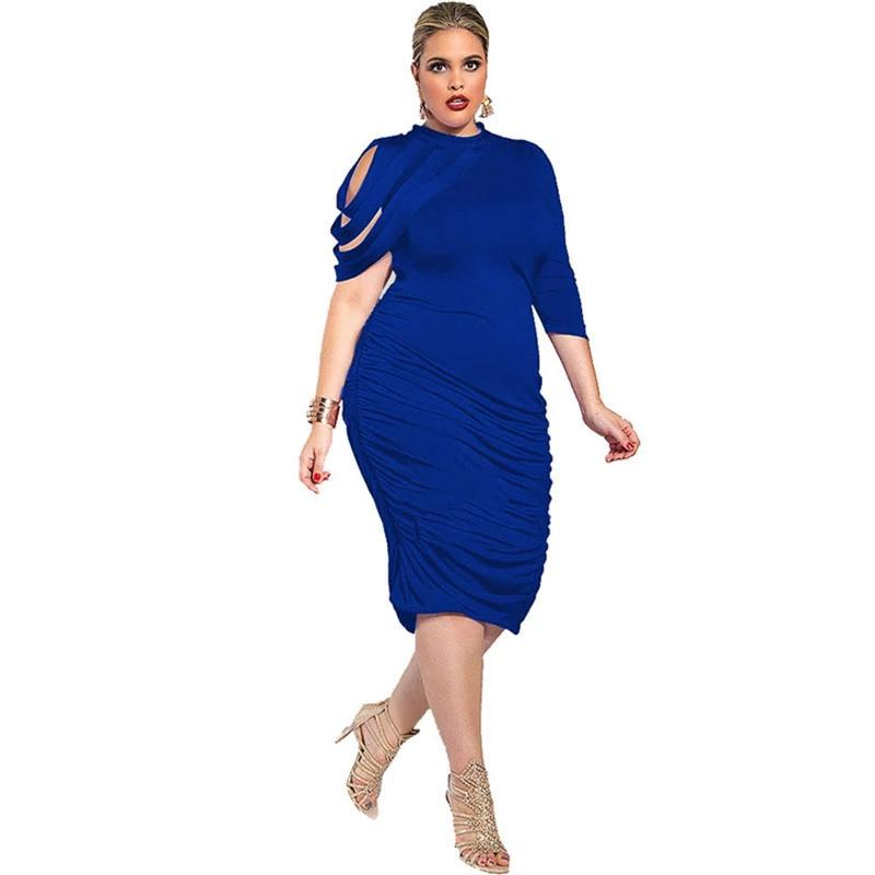Casual Designer Sexy Plus Size Royal blue Dress L-5XL
