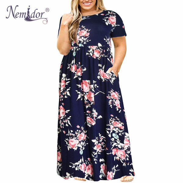 Women O-neck Long Sleeve Long Summer Casual Dress Plus Size 7XL 8XL 9XL