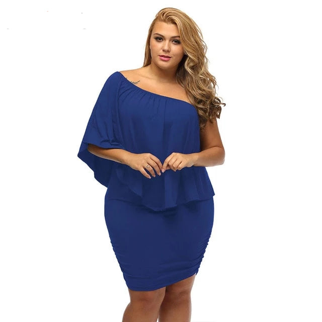 Large Red Blue Black Pink Rose Big Size Bodycon Casual Party Night dress