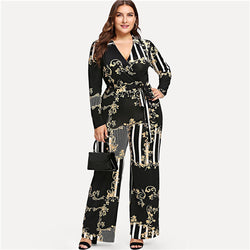 Plus Size Vintage Stripe Print Wrap Elegant V neck Belted Jumpsuit