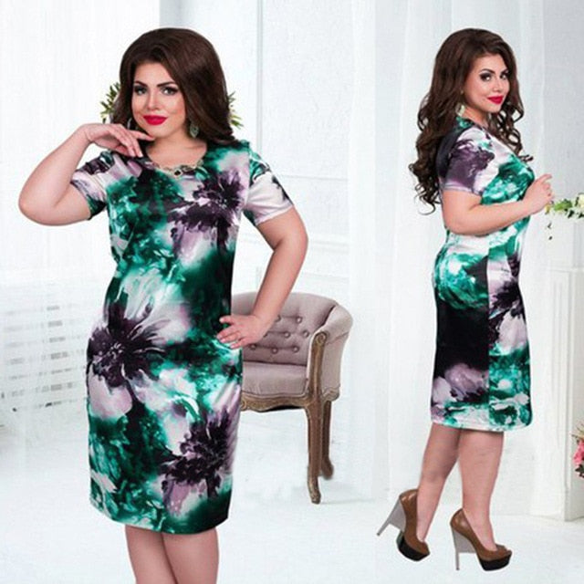Plus Size 6XL  O Neck Print Flower Straight Casual Summer  Oversized Dress