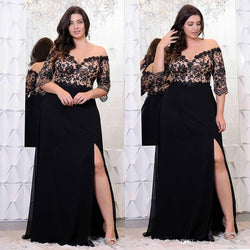 Women Elegant Off Shoulder Plus size  promdresses