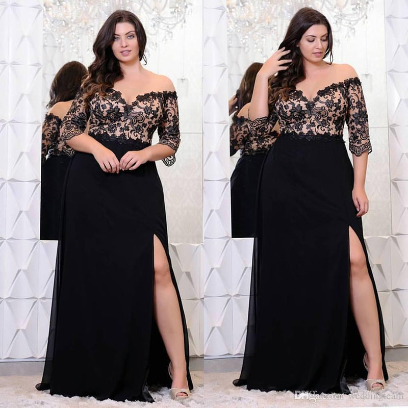 Plus Size Floor Length Off Shoulder dress